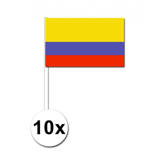 10 zwaaivlaggetjes Colombia 12 x 24 cm