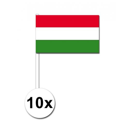 10 zwaaivlaggetjes Hongarije 12 x 24 cm