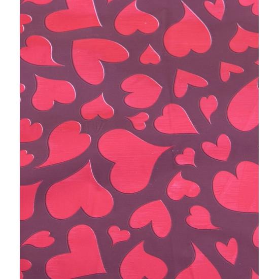 Cadeaupapier bordeaux met rode harten