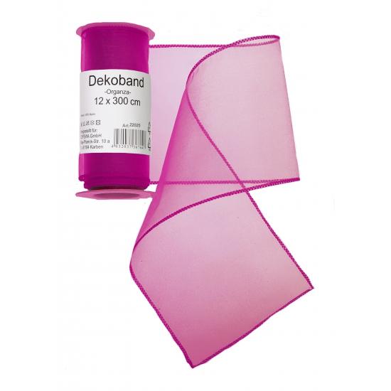 Fuchsia roze organza stof op rol 12 x 300 cm