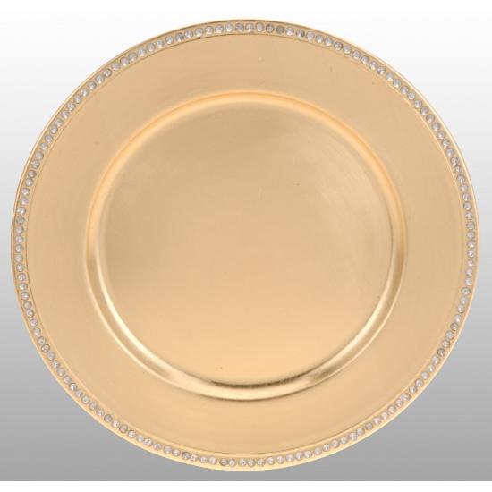 Gouden onderzet bord met diamant rand