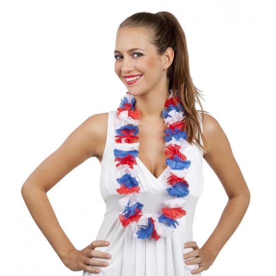Hawaii krans rood/wit/blauw