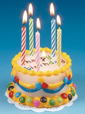 Kaars verjaardags taart