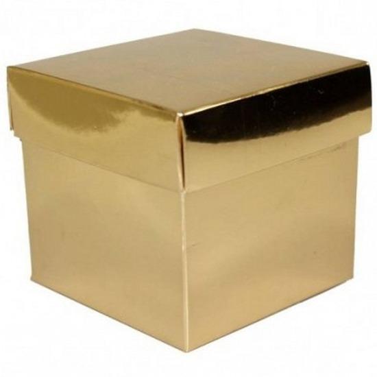 Kerst Glimmend gouden deco kadootjes 10 cm