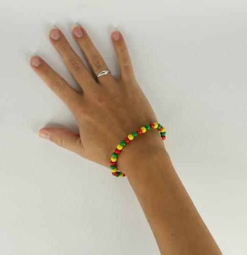 Kralen armband rood geel groen