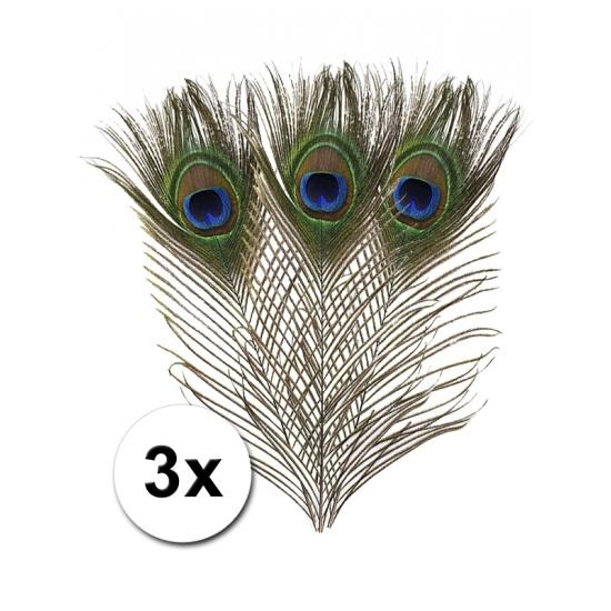 Pauwen veren 3 stuks