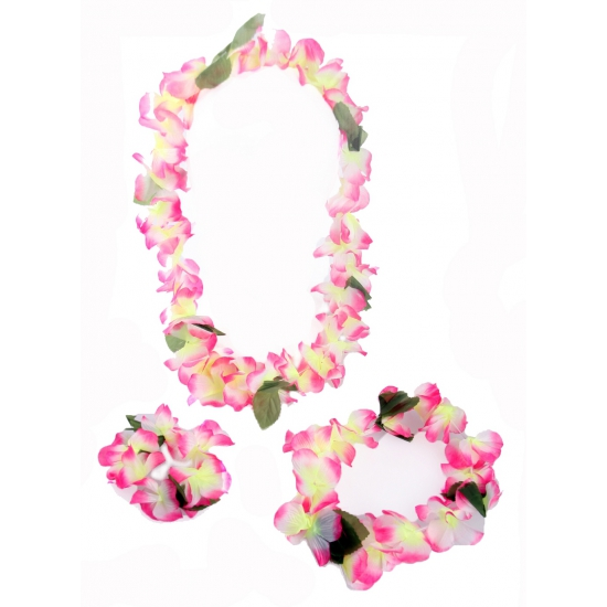 Roze Hawaii kransen set 4 delig