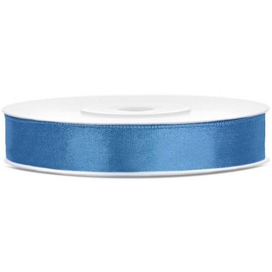 Satijn sierlint blauw 12 mm