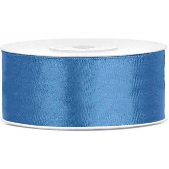 Satijn sierlint blauw 25 mm