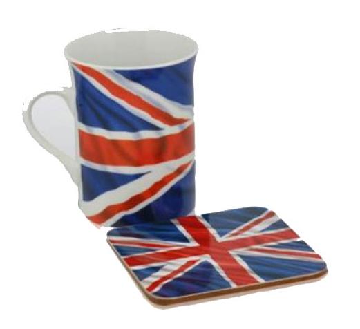 Union Jack mok en onderzetter