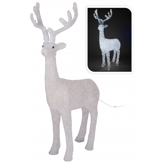 Verlichting rendier 130 cm. dit decoratie rendier bevat 380 witte led lampjes en heeft een formaat van ...