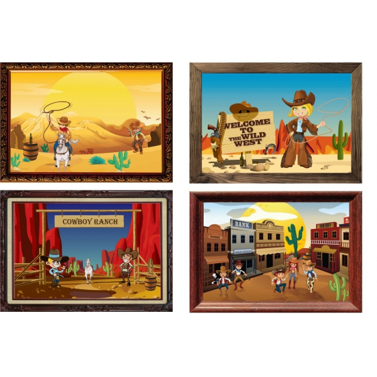 Vier decoratie posters Western thema