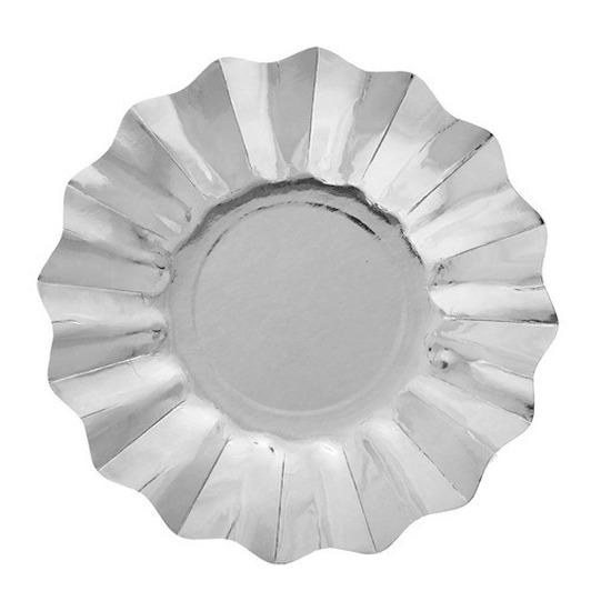 Zilveren diepe bordjes 21 cm