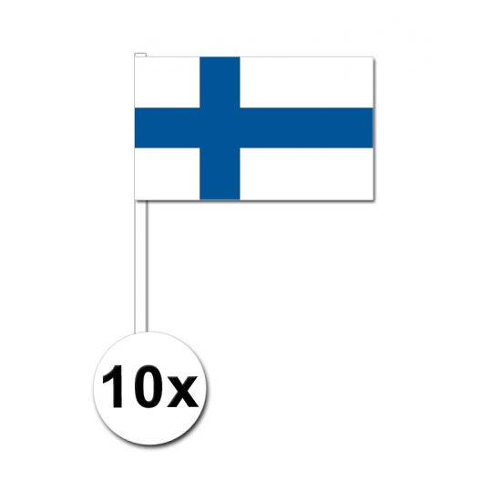 10 zwaaivlaggetjes Finland 12 x 24 cm
