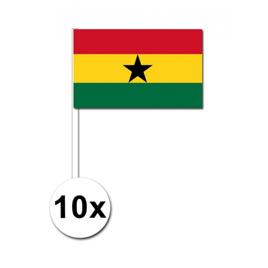 10 zwaaivlaggetjes Ghana 12 x 24 cm