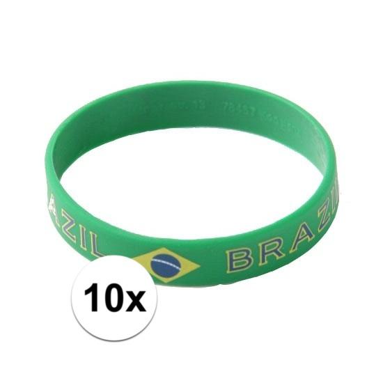 10x Polsbandjes vlag Brazilie