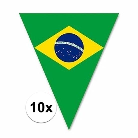 10x Versiering Brazilie vlaggenlijn/vlaggetjes 5 meter