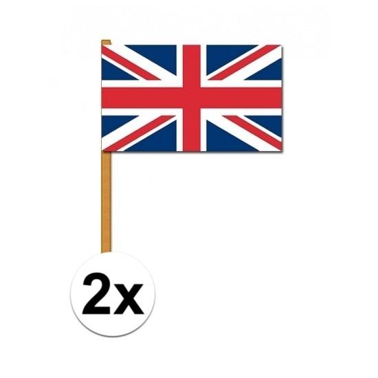 2x stuks Luxe zwaaivlaggen Engeland