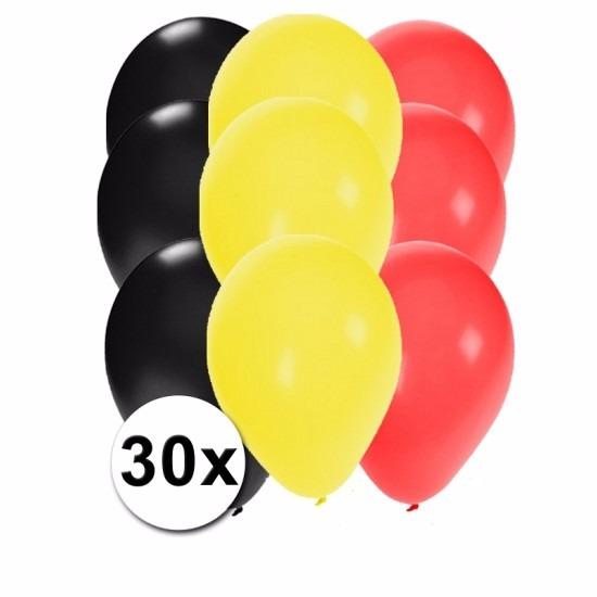 30x Ballonnen in Belgische kleuren