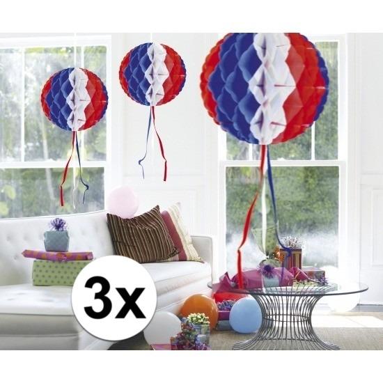 3x feestversiering decoratie bollen in Amerikaanse kleuren 30 cm
