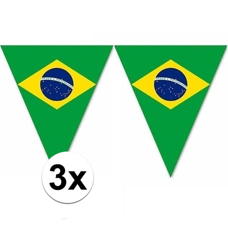 3x Versiering Brazilie vlaggenlijn/vlaggetjes 5 meter