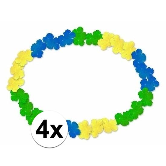 4x Braziliaanse Hawaii kransen blauw/geel/groen