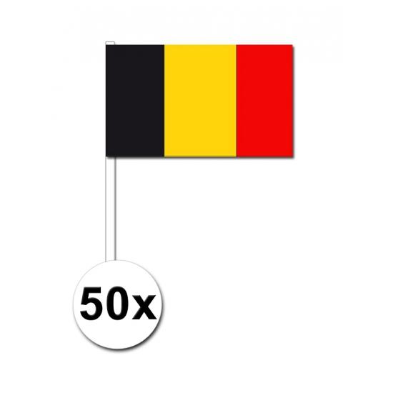 50 Belgische zwaaivlaggetjes 12 x 24 cm
