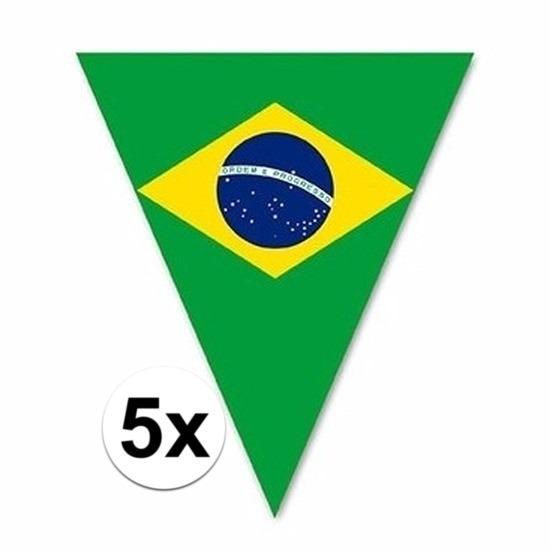 5x Versiering Brazilie vlaggenlijn/vlaggetjes 5 meter