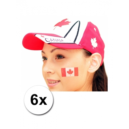 6 Canadese vlag tattoo stickers