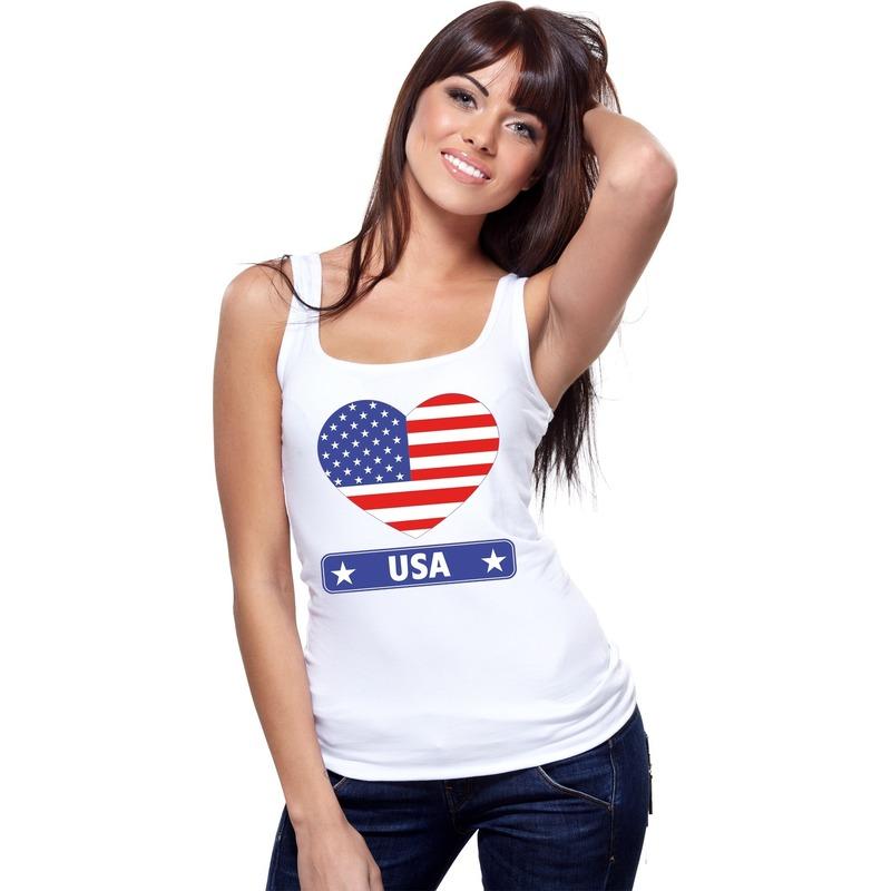 Amerika hart vlag singlet shirt/ tanktop wit dames