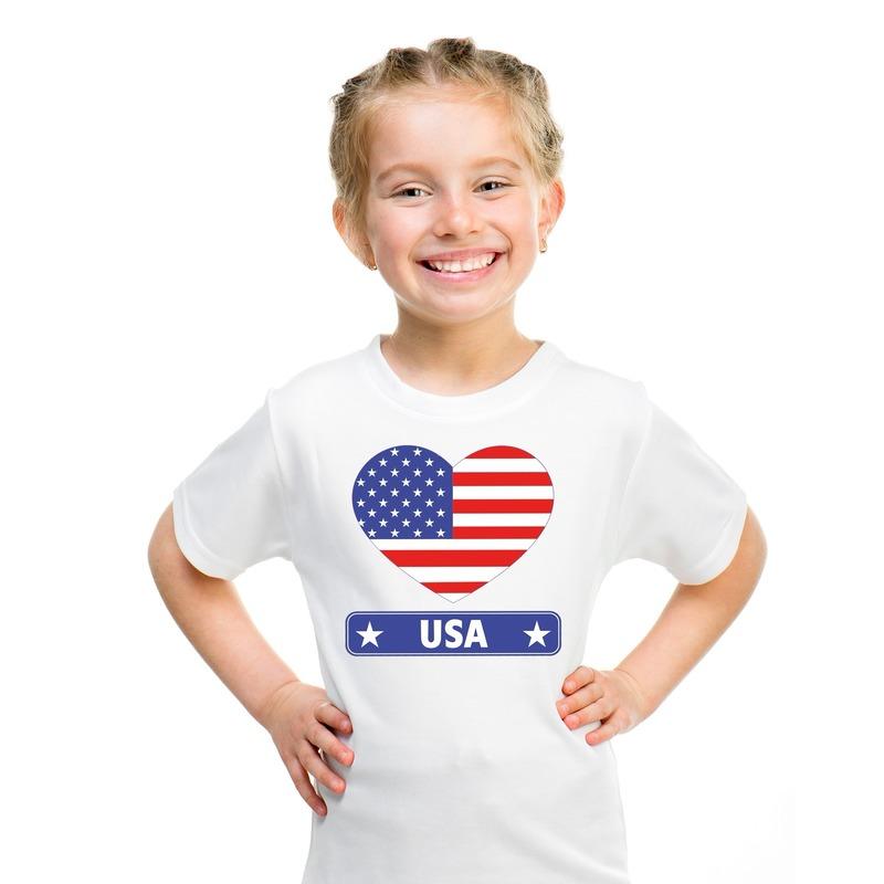 Amerika/ USA hart vlag t-shirt wit jongens en meisjes