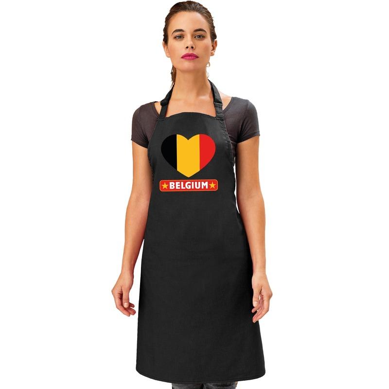 Belgie hart vlag barbecueschort/ keukenschort zwart volwassenen