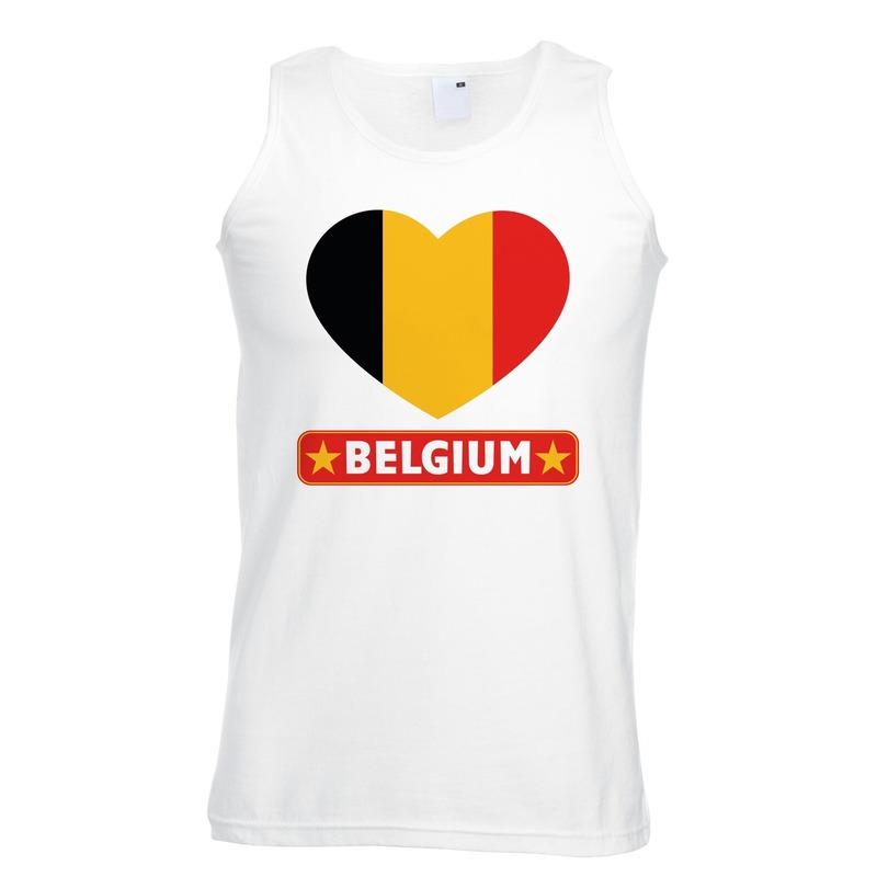 Belgie hart vlag singlet shirt/ tanktop wit heren