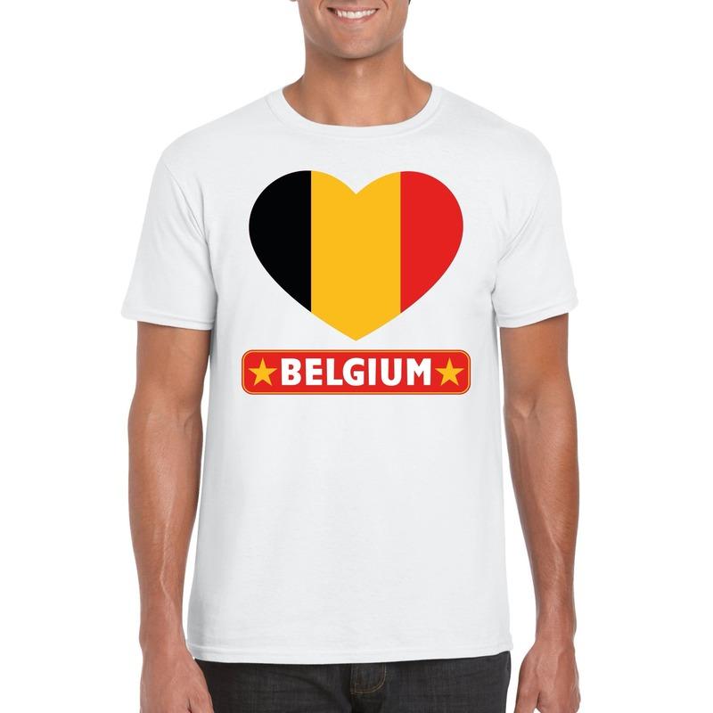 Belgie hart vlag t-shirt wit heren