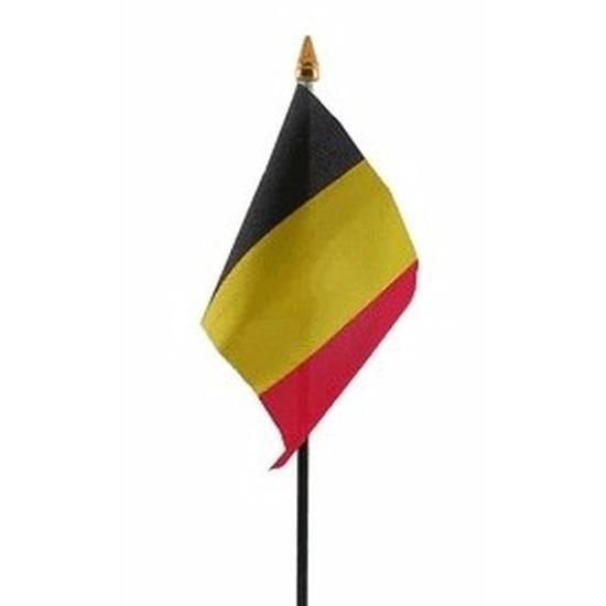 Belgie mini vlaggetje op stok 10 x 15 cm