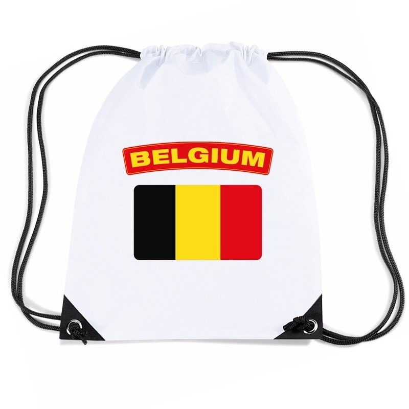 Belgie nylon rugzak wit met Belgische vlag