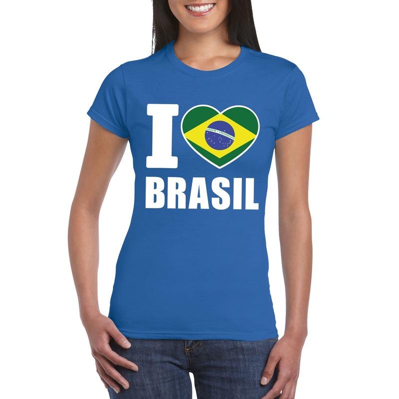 Blauw I love Brazilie fan shirt dames