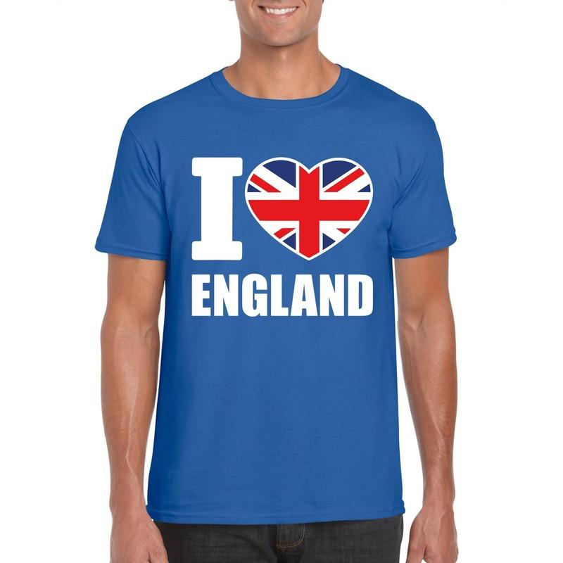 Blauw I love Engeland fan shirt heren