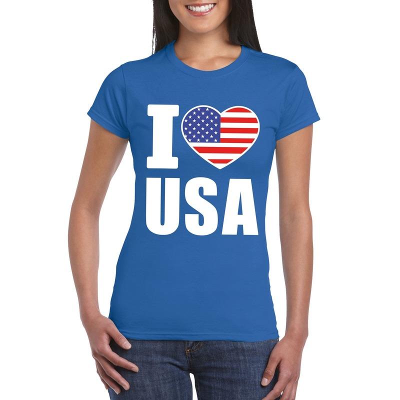 Blauw I love USA - Amerika fan shirt dames