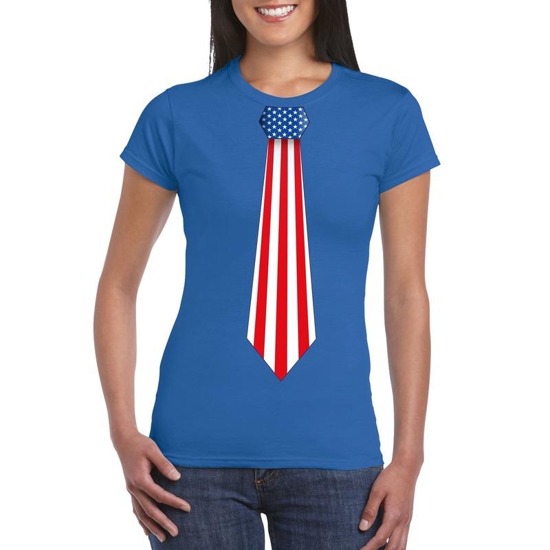 Blauw t-shirt met Amerika vlag stropdas dames