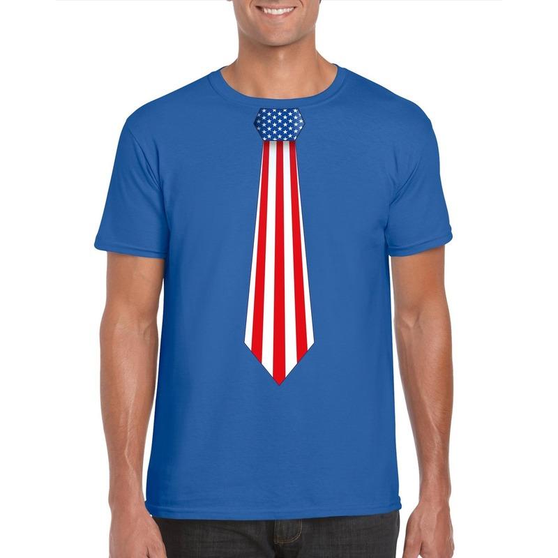 Blauw t-shirt met Amerika vlag stropdas heren