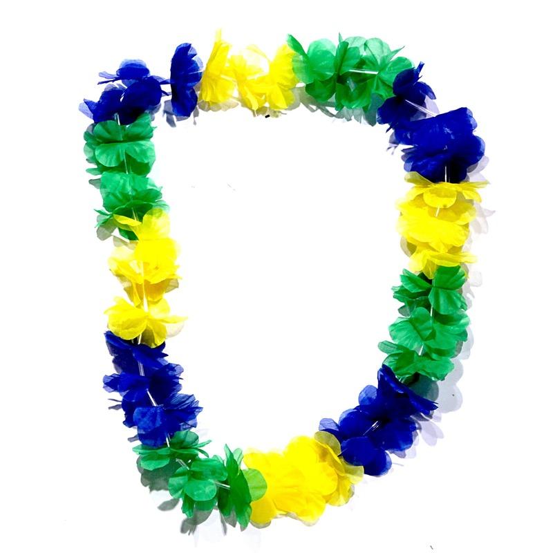 Braziliaanse Hawaii krans blauw/geel/groen