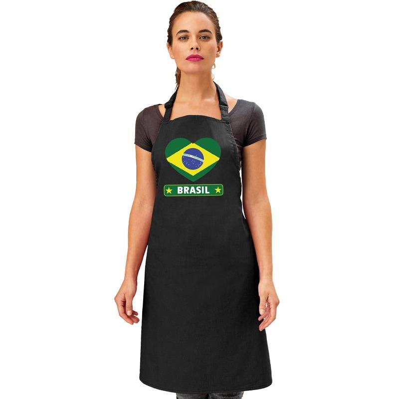 Brazilie hart vlag barbecueschort/ keukenschort zwart