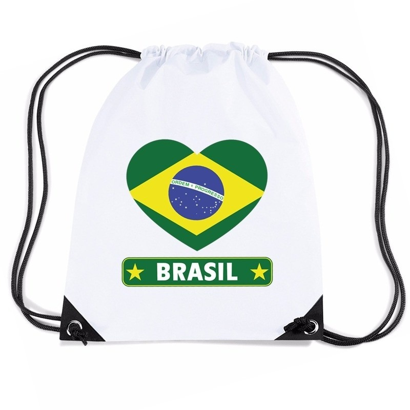 Brazilie hart vlag nylon rugzak wit