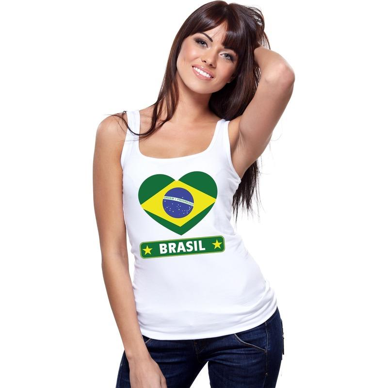 Brazilie hart vlag singlet shirt/ tanktop wit dames