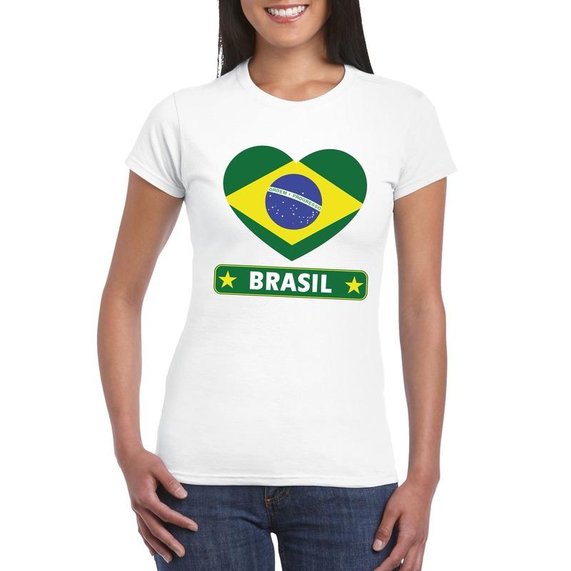 Brazilie hart vlag t-shirt wit dames