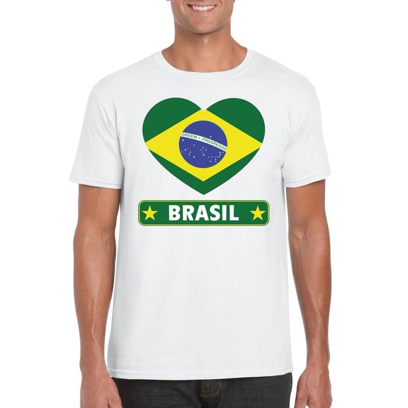Brazilie hart vlag t-shirt wit heren
