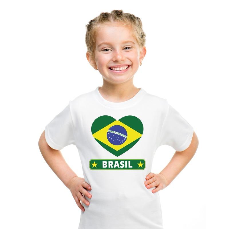 Brazilie hart vlag t-shirt wit jongens en meisjes