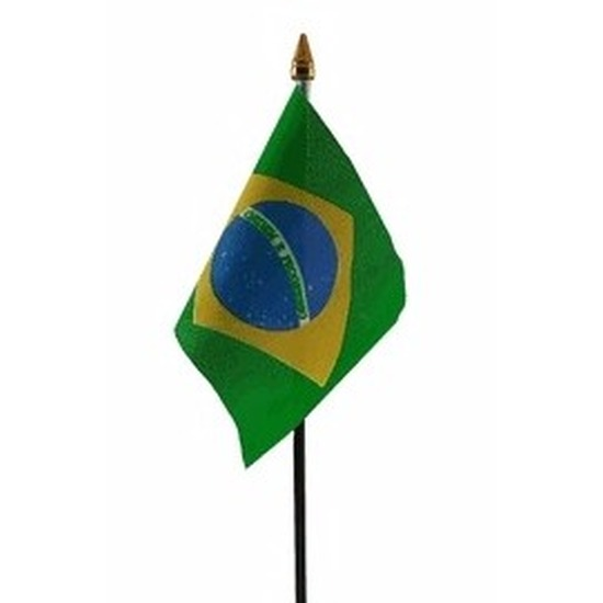 Brazilie mini vlaggetje op stok 10 x 15 cm
