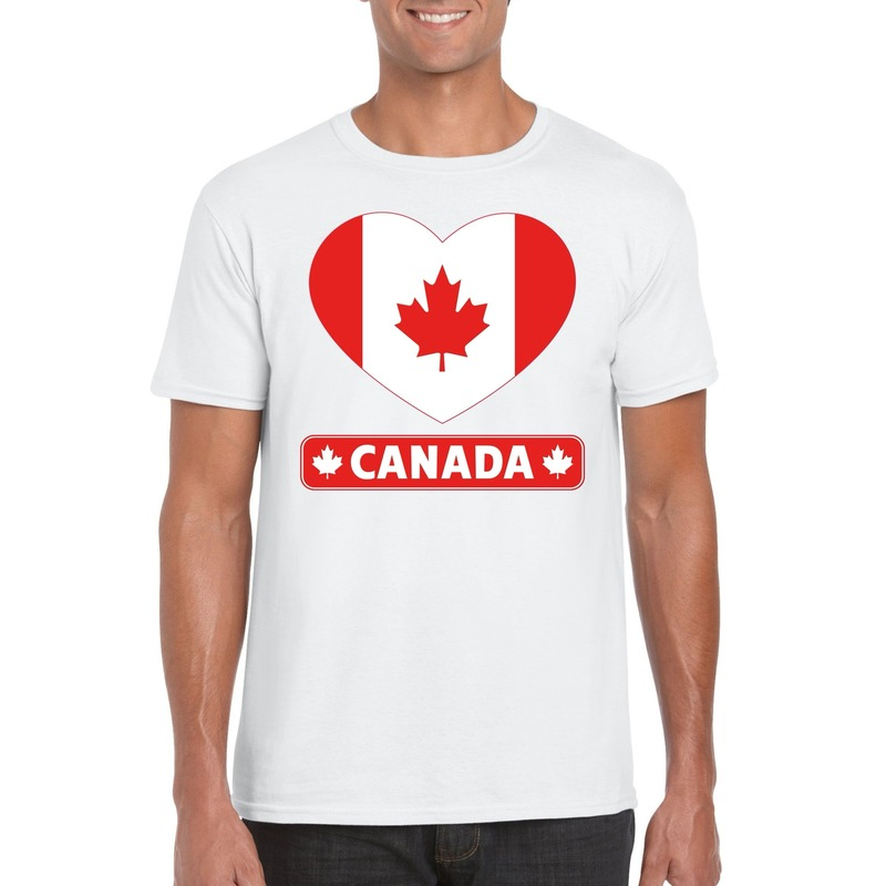 Canada hart vlag t-shirt wit heren